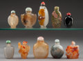 Asian:Chinese, A Group of Ten Chinese Snuff Bottles. 3-3/4 inches high (9.5 cm)(tallest). ... (Total: 10 Items)