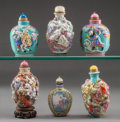 Asian:Chinese, A Group of Six Chinese Snuff Bottles. 3-3/4 inches high (9.5 cm)(tallest). ... (Total: 6 Items)