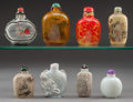 Asian:Chinese, A Group of Eight Chinese Snuff Bottles. 3-3/8 inches high (8.6 cm)(internally painted amber bottle). ... (Total: 8 Items)