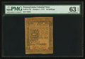 Colonial Notes:Pennsylvania, Pennsylvania October 1, 1773 50s PMG Choice Uncirculated 63 EPQ.....