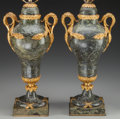Decorative Arts, Continental:Lamps & Lighting, A Pair of French Gilt Bronze Mounted Marble Lamp Bases, 19thcentury. 17-3/4 inches high (45.1 cm) (without hardware mounts)...