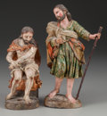 Decorative Arts, Continental, Two Venetian Polychrome Carved Wood Figures of Christ, late 18thcentury. 10-1/4 inches high (26.0 cm) (taller). ... (Total: 2Items)
