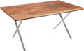 Furniture : Continental, A Contemporary Walnut Butcher Block and Chrome Table, late 20thcentury. 28-1/2 inches high x 60 inches wide x 36 inches dee...