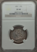 Bust Quarters: , 1831 25C Small Letters XF40 NGC. NGC Census: (15/417). PCGS Population (51/425). Mintage: 398,000. Numismedia Wsl. Price fo...