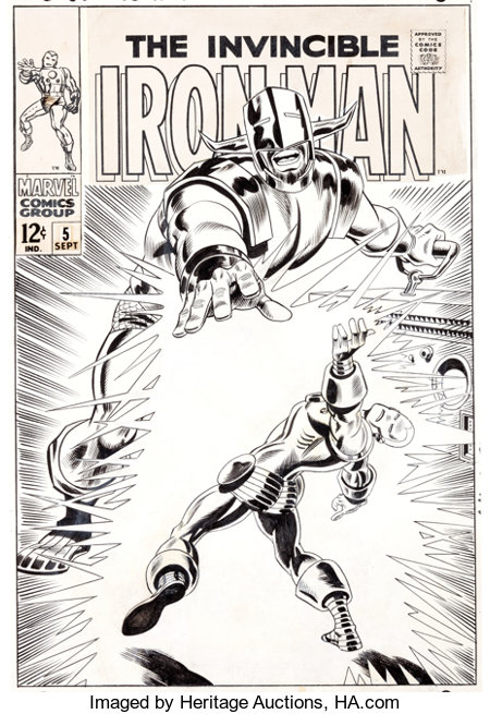 George Tuska and Frank Giacoia Iron Man #5 Cover Original Art (Marvel, 1968).... (Total: 3 Items)