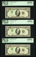 Error Notes:Inverted Third Printings, Fr. 2023-D $10 1977 Federal Reserve Notes. Three ConsecutiveExamples. PCGS Very Choice New 64PPQ-Gem New 65PPQ.. ... (Total: 3notes)