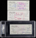 Baseball Collectibles:Others, 1971-74 Jesse Haines Single Signed Checks Lot of 3....