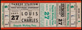 Boxing Collectibles:Memorabilia, 1950 Joe Louis vs. Ezzard Charles world Heavyweight Championship Full Ticket....