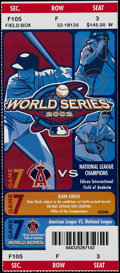 Baseball Collectibles:Tickets, 2002 Anaheim Angels vs. San Francisco Giants World Series GameSeven Full Ticket....