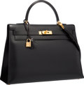 "Luxury Accessories:Bags, Hermes 35cm Black Calf Box Leather Sellier Kelly Bag with GoldHardware . Very Good to Excellent Condition . 14""Width..."