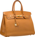 """Luxury Accessories:Bags, Hermes 35cm Natural Ardennes Leather Birkin Bag with Gold Hardware.Very Good Condition. 14"""" Width x 10"""" Height x 7"""" D..."""