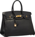 "Luxury Accessories:Bags, Hermes 35cm Black Ardennes Leather Birkin Bag with Gold Hardware.Good to Very Good Condition. 14"" Width x 10"" Height..."