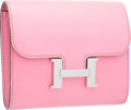 "Luxury Accessories:Bags, Hermes 5P Pink Epsom Leather Constance Wallet with PalladiumHardware. Very Good Condition. 5"" Width x 4.5"" Height x1..."