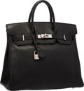 "Luxury Accessories:Bags, Hermes 30cm Black Chevre Leather HAC Birkin Bag with PalladiumHardware. Excellent Condition . 12"" Width x 10"" Height..."