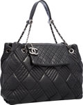"Luxury Accessories:Bags, Chanel Black Quilted Lambskin Leather Shoulder Bag with Gunmetal Hardware . Very Good Condition . 15"" Width x 11"" Heig..."