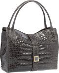 "Luxury Accessories:Bags, Kara Ross Shiny Gray Crocodile Shoulder Bag. Very Good toExcellent Condition. 12.5"" Width x 10"" Height x 5""Depth. ..."