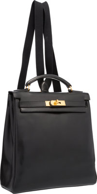 Hermes 28cm Black Gulliver Leather Kelly Ado Backpack Bag with Gold Hardware Very Good Condition