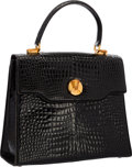 """Luxury Accessories:Bags, Gucci Shiny Black Crocodile Top Handle Bag with Gold Hardware .Very Good Condition . 11"""" Width x 10"""" Height x 4.5""""De..."""