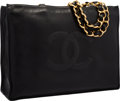 "Luxury Accessories:Bags, Chanel Black Lambskin Leather Jumbo Shopping Tote Bag with GoldHardware. Good to Very Good Condition. 16"" Width x12""..."