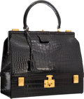 "Luxury Accessories:Bags, Hermes Shiny Black Crocodile Sac Mallet Bag with Gold Hardware. Very Good Condition. 12.5"" Width x 10.5"" Height x 5"" D..."