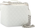 "Luxury Accessories:Accessories, Chanel White Quilted Lambskin Leather Jewelry Case with SilverHardware . Very Good to Excellent Condition . 7"" Width..."