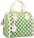 Luxury Accessories:Bags, Louis Vuitton Green Tuffetage & White Leather Damier CubicSpeedy Cube PM Bag with Silver Hardware. ExcellentCondition...