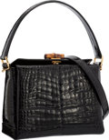 "Luxury Accessories:Bags, Gucci Shiny Black Crocodile & Bamboo Top Handle Bag with GoldHardware by Tom Ford. Very Good Condition. 9"" Width x6""..."