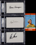 Golf Collectibles:Autographs, 1980's-2000's Byron Nelson, Gary Player, Gene Sarazen & JackNicklaus Signed Index Cards and Passes, Lot of 4....