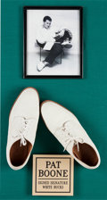 Music Memorabilia:Autographs and Signed Items, A Pair of Pat Boone Signed Shoes and Picture Display, from The DickClark Auction, (1992)....