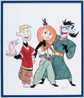 Animation Art:Production Drawing, Stephen Silver - Kim Possible, Ron Stoppable, and Dr.Drakken Color Illustration (undated). ...