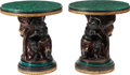 Furniture : Continental, A Pair of Carved Blackamoor Side Tables with Malachite Tops, 20thcentury. 26-1/2 inches high x 24 inches diameter (67.3 x 6...(Total: 2 Items)