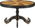 Furniture : English, A English Colonial Ebonized and Parcel Giltwood Table with Inlaid Top, circa 1900. 31 inches high x 48 inches diameter (78.7...