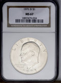 Eisenhower Dollars: , 1971-D $1 MS67 NGC. NGC Census: (30/0). PCGS Population (14/0). Mintage: 68,587,424. (#7407)...