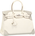 Luxury Accessories:Bags, Hermes Limited Edition 35cm White & Gris Perle Swift Leather Ghillies Birkin Bag with Palladium Hardware. Excellent Condit...