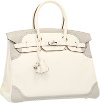 Hermes Limited Edition 35cm White & Gris Perle Swift Leather Ghillies Birkin Bag with Palladium Hardware Excell...