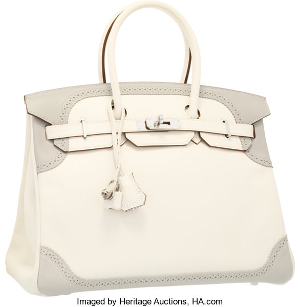 f82c36f8937 Hermes Limited Edition 35cm White   Gris Perle Swift
