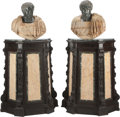 Miscellaneous, A Pair of Italian Carved Marble Busts on Ebonized Wood and Marble Pedestals: Julius Caesar, 19th and 20th centur... (Total: 4 Items)