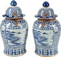 Asian:Chinese, A Pair of Chinese Blue and White Porcelain Ginger Jars . 31 incheshigh (78.7 cm) . ... (Total: 4 Items)