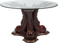 Furniture , A Portuguese Carved Mahogany Dolphin Table with Glass Top, 20th century. 29-3/4 inches high x 51 inches diameter (75.6 x 129... (Total: 2 Items)
