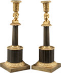 Decorative Arts, French:Lamps & Lighting, A Pair of French Empire-Style Gilt and Patinated Bronze FiguralCandlesticks, 19th century. 13-1/4 inches high (33.7 cm). ...(Total: 2 Items)
