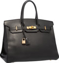 """Luxury Accessories:Bags, Hermes 35cm Black Ardennes Leather Birkin Bag with Gold Hardware. Good to Very Good Condition. 14"""" Width x 10"""" Height ..."""