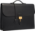 Luxury Accessories:Bags, Hermes 40cm Black Calf Box Leather Double Gusset Sac a Depeches Bagwith Gold Hardware. Good to Very Good Condition. 1...