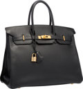 "Luxury Accessories:Bags, Hermes 35cm Black Ardennes Leather Birkin Bag with Gold Hardware. Very Good Condition. 14"" Width x 10"" Height x 7"" Dep..."