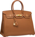 """Luxury Accessories:Bags, Hermes 35cm Gold Togo Leather Birkin Bag with Gold Hardware. Excellent Condition. 14"""" Width x 10"""" Height x 7"""" Depth..."""