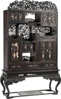Asian:Japanese, A Japanese Meiji Period Carved Hardwood and Inlaid Cabinet onStand, late 19th century. 77-1/2 inches high x 43-1/2 inches w...