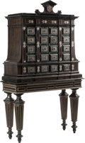 Furniture : Continental, A Continental Baroque-Style Marble and Silver Inlaid HardwoodCabinet on Stand, 20th century. 76-1/2 inches high x 44-1/2 in...(Total: 2 Items)