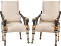 Furniture : American, A Pair of Egyptian Revival Leather Upholstered Ebonized and Parcel Gilt Armchairs, 20th century. 42 inches high x 25-1/2 inc... (Total: 2 Items)