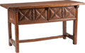 Furniture : Continental, An Italian Oak Two-Drawer Trestle Table, late 17th century. 32inches high x 57-1/2 inches wide x 23-1/8 inches deep (81.3 x...
