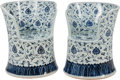 Asian:Chinese, A Pair of Chinese Blue and White Porcelain Garden Seats, late 20thcentury. 26-1/4 inches high x 22-1/2 inches wide x 18 inc...(Total: 2 Items)