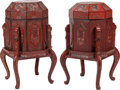 Asian:Chinese, A Pair of Chinese Red Lacquered Wedding Baskets on Stands. 37inches high (94.0 cm). ... (Total: 2 Items)